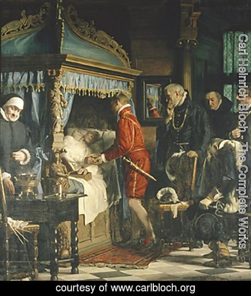 Carl Heinrich Bloch - Chancellor Niels Kaas handing over the keys to Christian IV