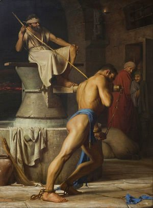 Carl Heinrich Bloch - Samson and the Philistines (Samson in the Threadmill)